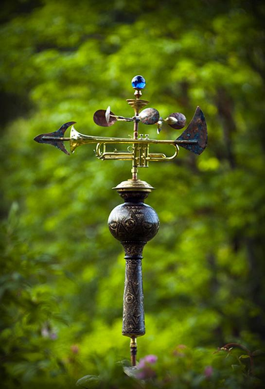 Weathervane made from an upcycled trumpet, brass and copper.