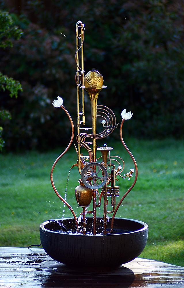 Trombone Fountain With Lotus Flowers Douglas Walker Sculpture