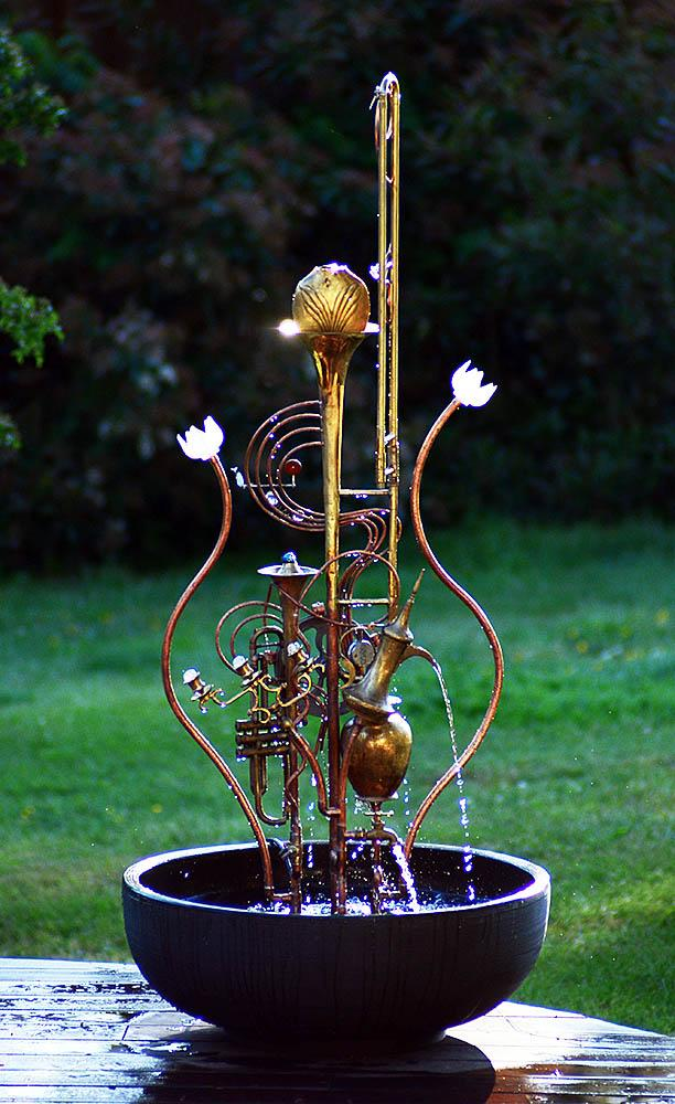 Trombone Fountain With Lotus Flowers Douglas Walker Sculpture